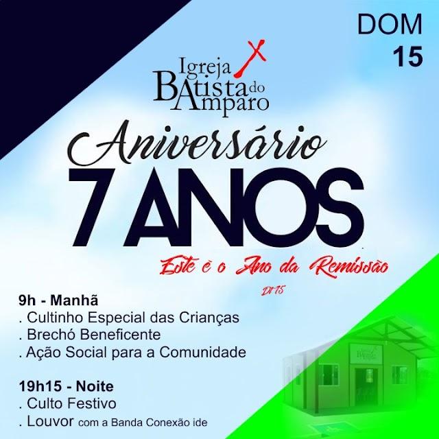 Pastor Jader Medeiros convida a população para o 7º Aniversário da Igreja Batista de Amparo