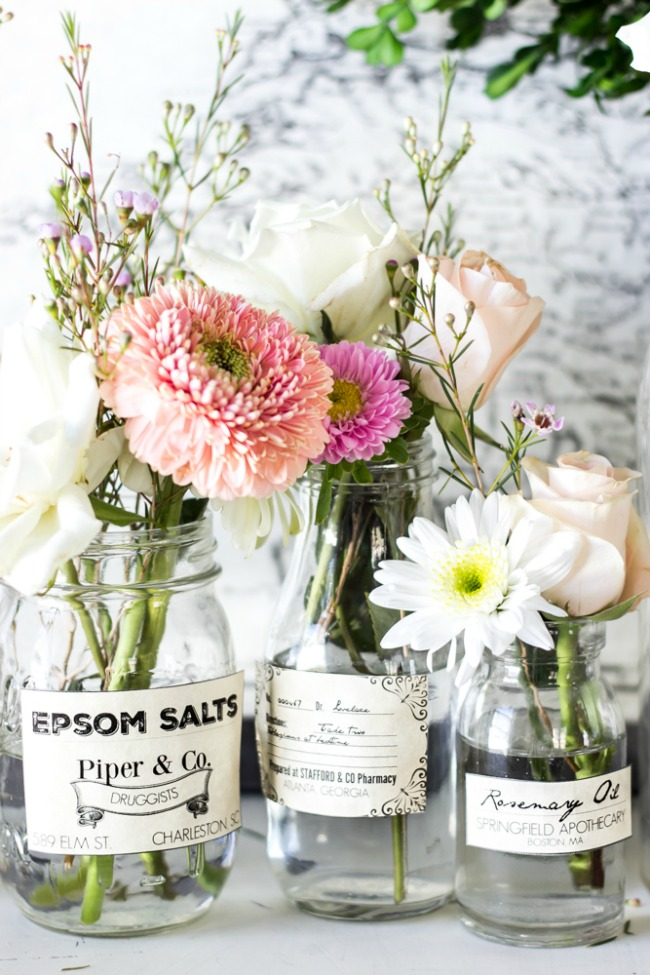 spring Apothecary jar labels