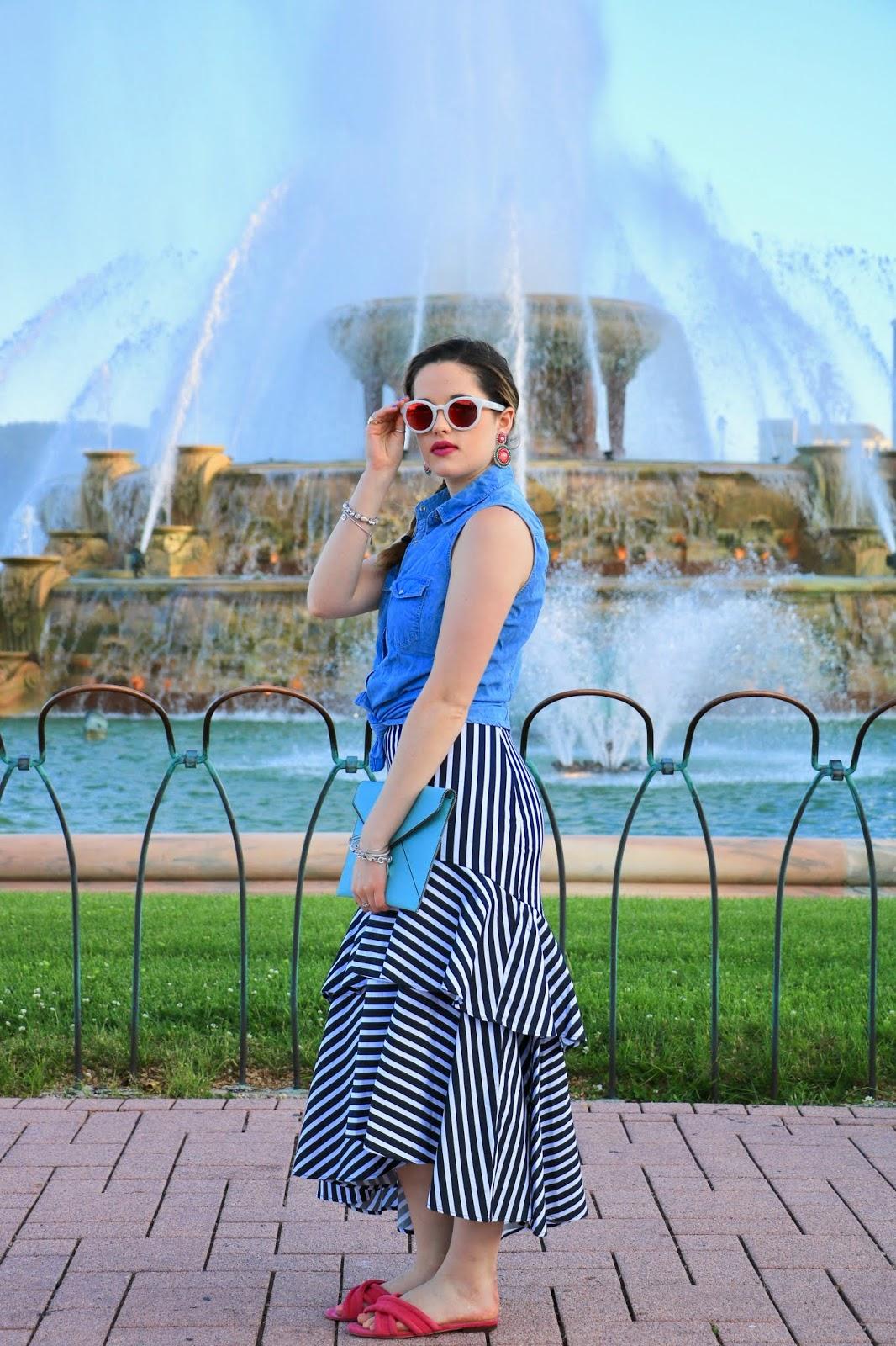Nyc fashion blogger Kathleen Harper wearing a Banana Republic striped ruffle midi skirt