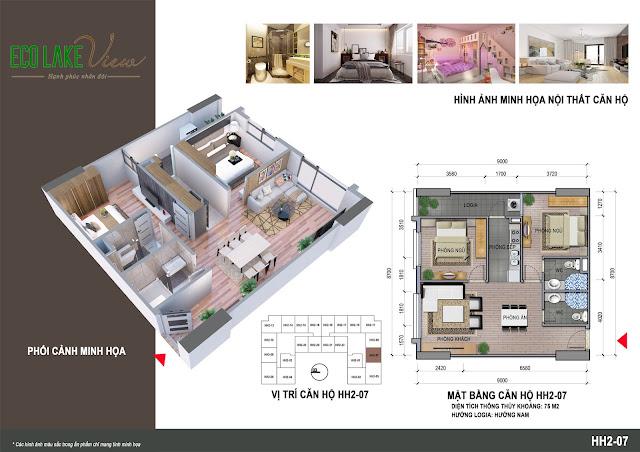 Thiết kế căn hộ B2B - 07 tòa HH2 Eco Lake View