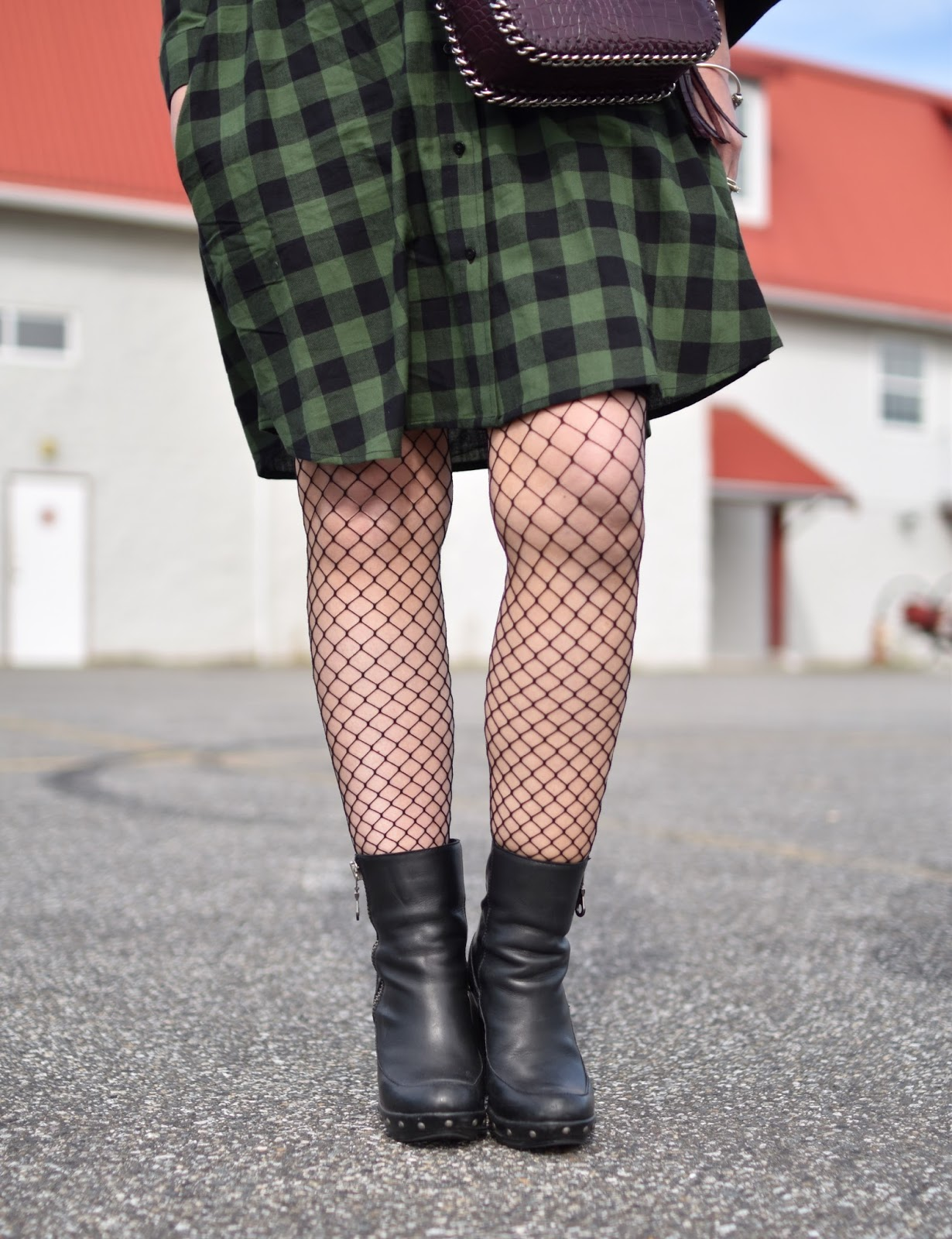 Outfit inspiration - plaid flannel shirtdress, fishnet tights, platform booties