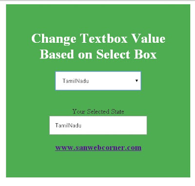 Change Textbox Value based on Select Box