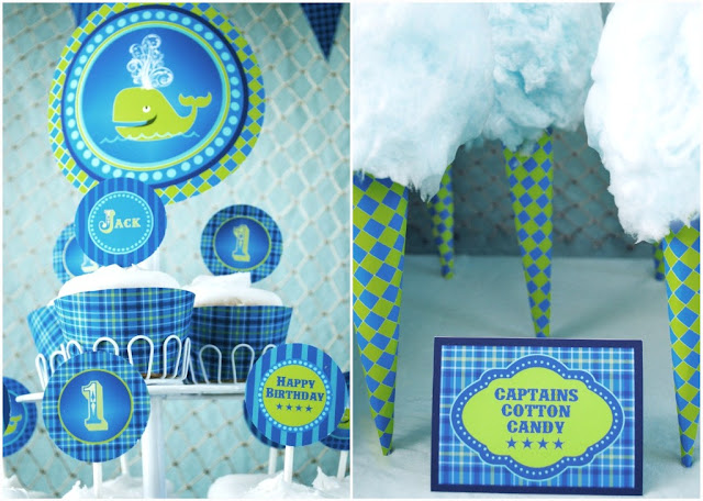 Get loads of ideas for an ocean themed 1st birthday party from guest feature designer, Gwynn Wasson. You'll love the blue colors and fun details.