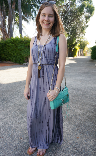 Boho casual autumn outfit Queensland blogger tie dye maxi dress RM mini MAC