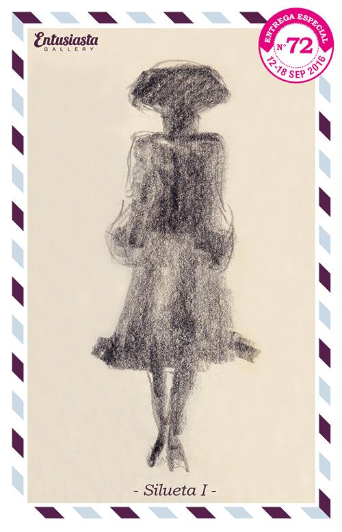 Personaje caminando de espaldas, en silueta, con atuendo veneciano.