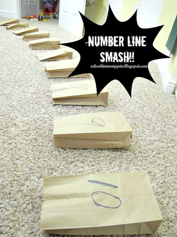stomp and smash number line math activity