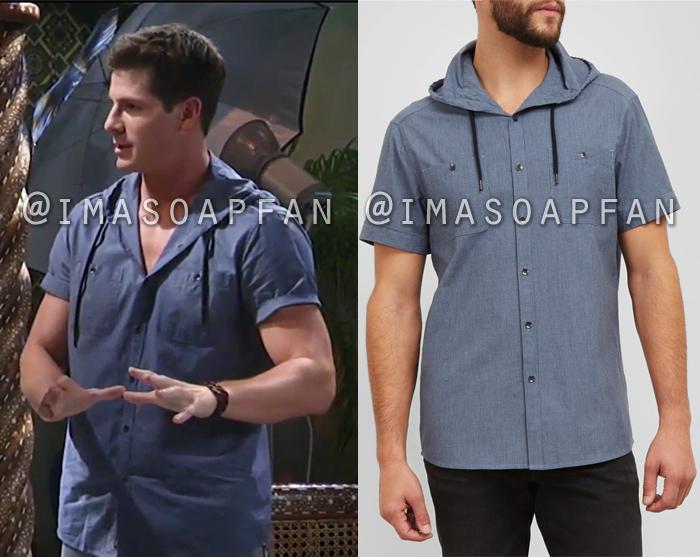 Dillon Quartermaine, Robert Palmer Watkins, Short Sleeve Hooded Chambray Shirt, General Hospital, GH