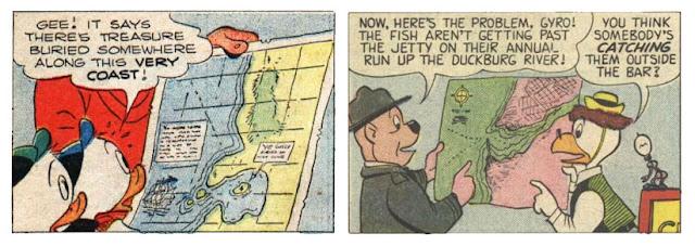 Carl Barks - map over Duckburg