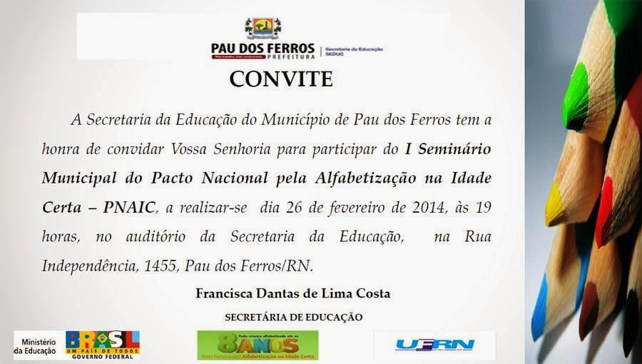 Convite I Seminário Municipal Do Pacto Nacional Pela