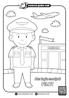 Mewarnai gambar cita cita pilot