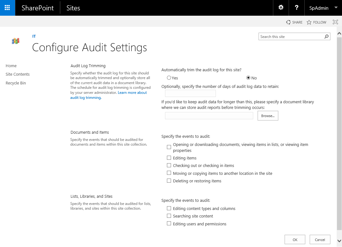 sharepoint disable audit log