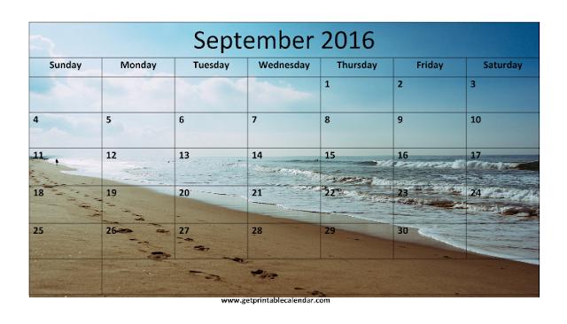 September 2016 Beach Calendar, September 2016 Beach Calendar Printable, September 2016 Beach Calendar Template, September 2016 Beach Blank Calendar