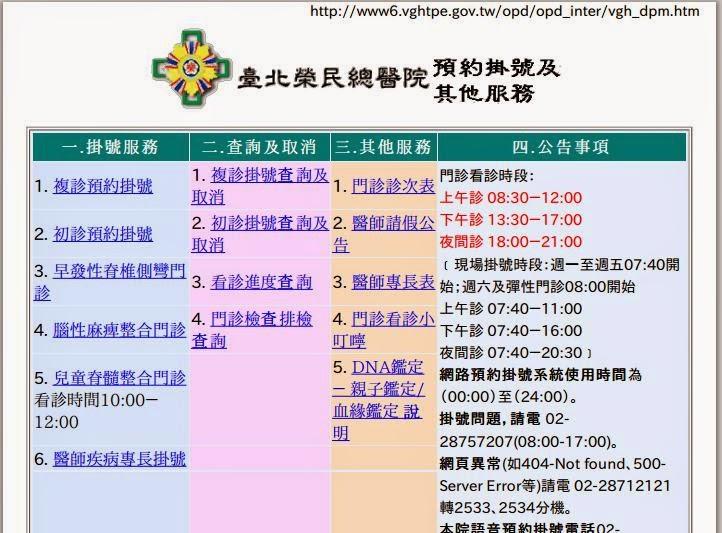 雲端藥局 內頁: 臺北榮民總醫院 網路掛號