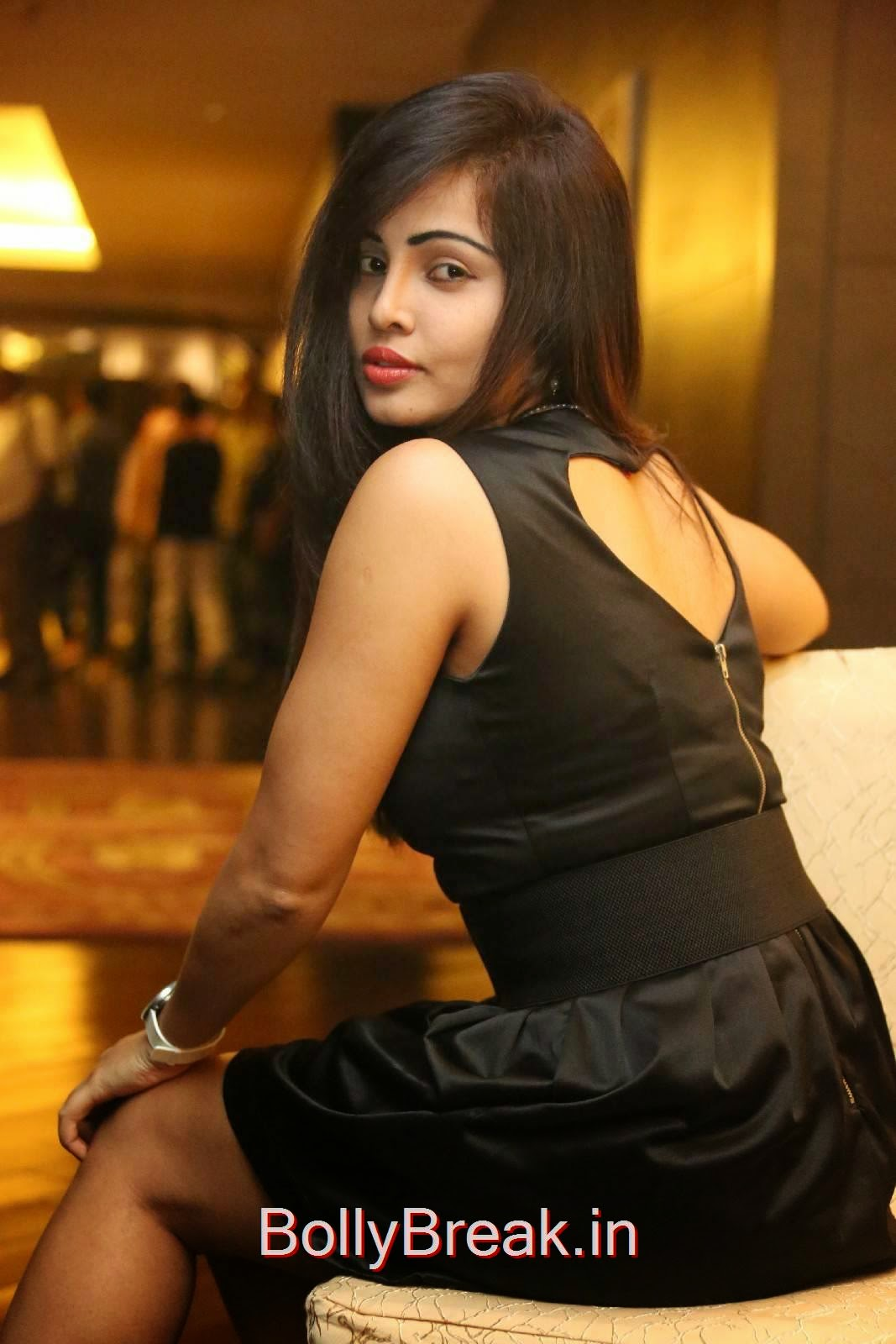 Hashika Dutt Photoshoot Stills, Hashika Dutt Hot Pics In Black Dress from Player Trailer Launch
