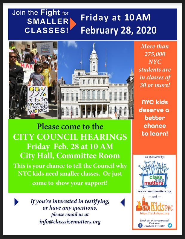 Class size hearings on Friday, Feb. 28, 10 AM at City Hall