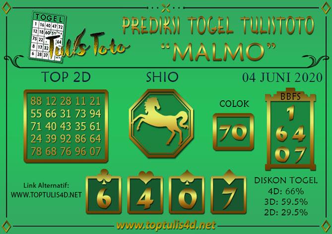 Prediksi Togel MALMO TULISTOTO 04 JUNI 2020