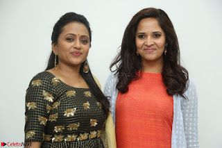 Actress Suma in Black Salwar Suit and Anusuya in orange Dress at winner movie press meet part 1 February 2017 (29).JPG