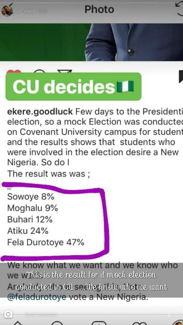 Covenant University Students Voting Fela Durotoye In Presidential Election