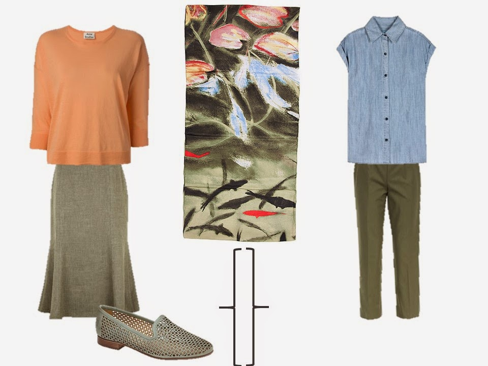 apricot sweater and olive skirt; sleeveless chambray shirt and olive trousers