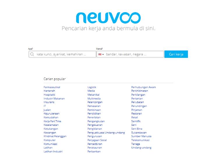 Cari kerja kosong melalui neuvoo.com