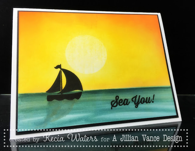 A Jillian Vance Design, Kecia Waters, Copic markers, sponging, Sailboat