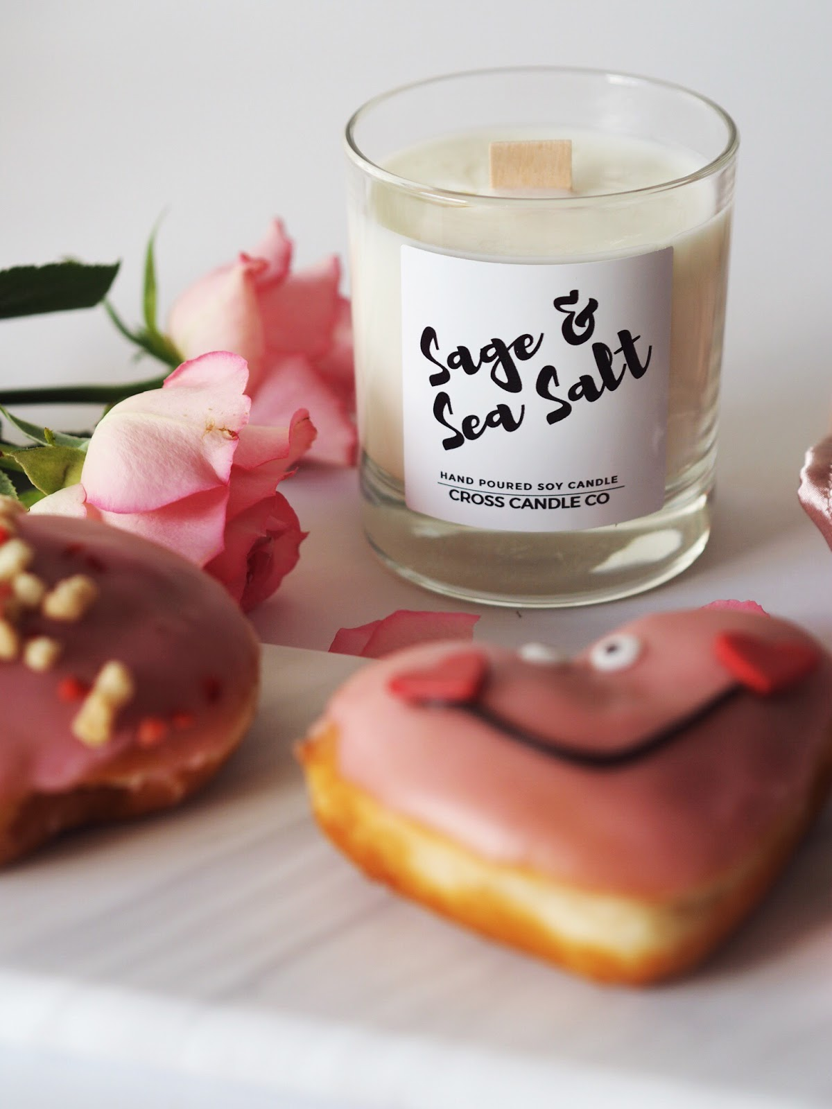 Cosy Valentines Krispie Kreme Pink Dougnuts, Sage and Sea Salt Cross Candle Soy Wax Candle