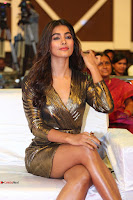 Pooja Hegde looks glamarous in deep neck sleevless short tight golden gown at Duvvada Jagannadham thank you meet function 116.JPG