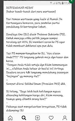 Viral Sandi Diusir Prabowo karena Menolak Deklarasi Kemenangan, BPN Membantah
