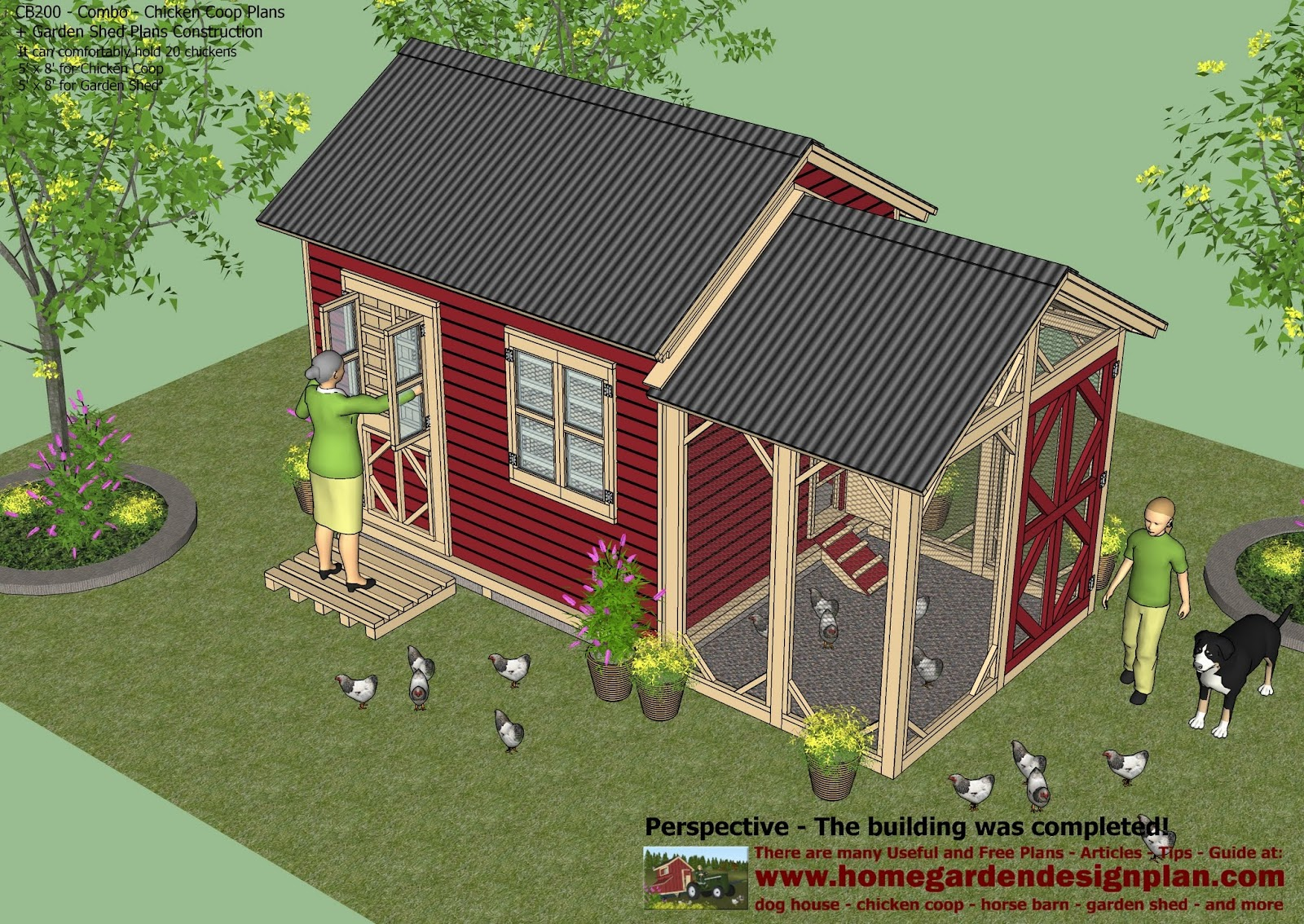 Home garden plans cb200 combo plans chicken coop for 2 storage house