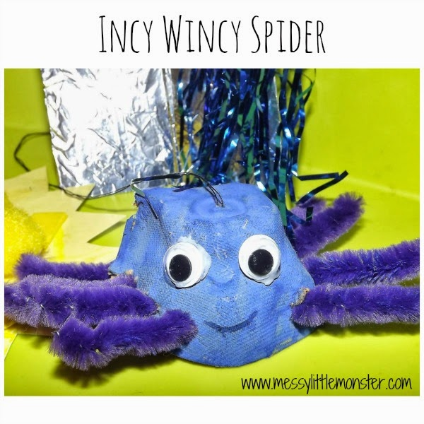 Simple Incy Wincy Spider (itsy bitsy spider) craft and activity for toddlers and preschoolers. Make props to sing-a-long to the popular nursery rhyme.