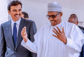 Photos: Buhari Receives Emir Of Qatar In Nigeria