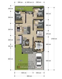 Denah Rumah Ukuran 8x12 Kamar 4