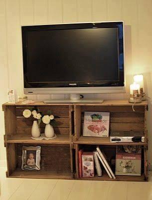 reutilizar caixotes de madeira rack tv