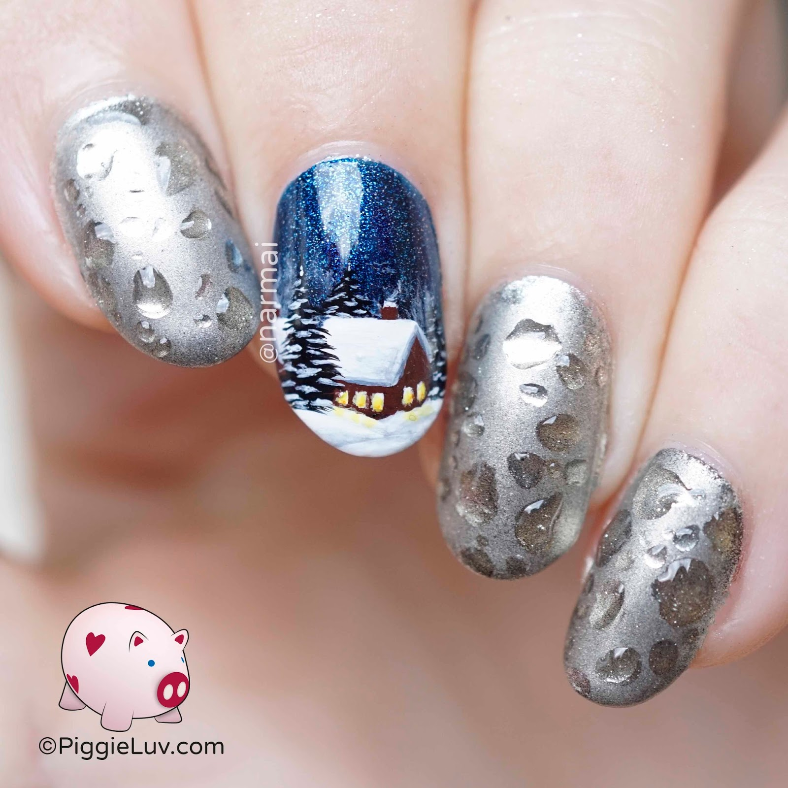 PiggieLuv: Wet winter nail art