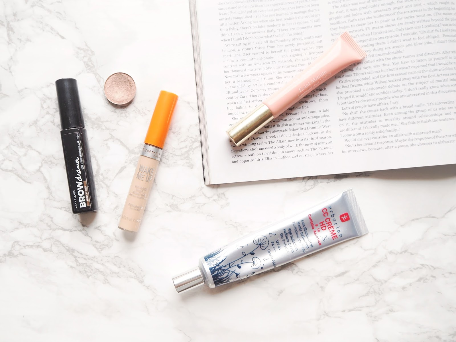 Minimal Makeup Essentials, no makeup makeup, erborian cc crème HD, rimmel wake me up concealer, maybelline brow drama sculpting brow mascara, mac all that glitters eyeshadow, clarins instant light natural lip perfector 02, review