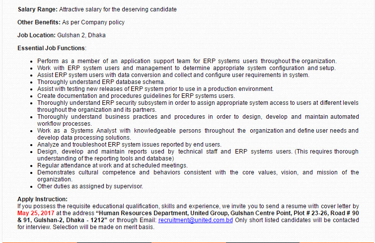 United Group - Position: ERP Support Specialist (Senior
