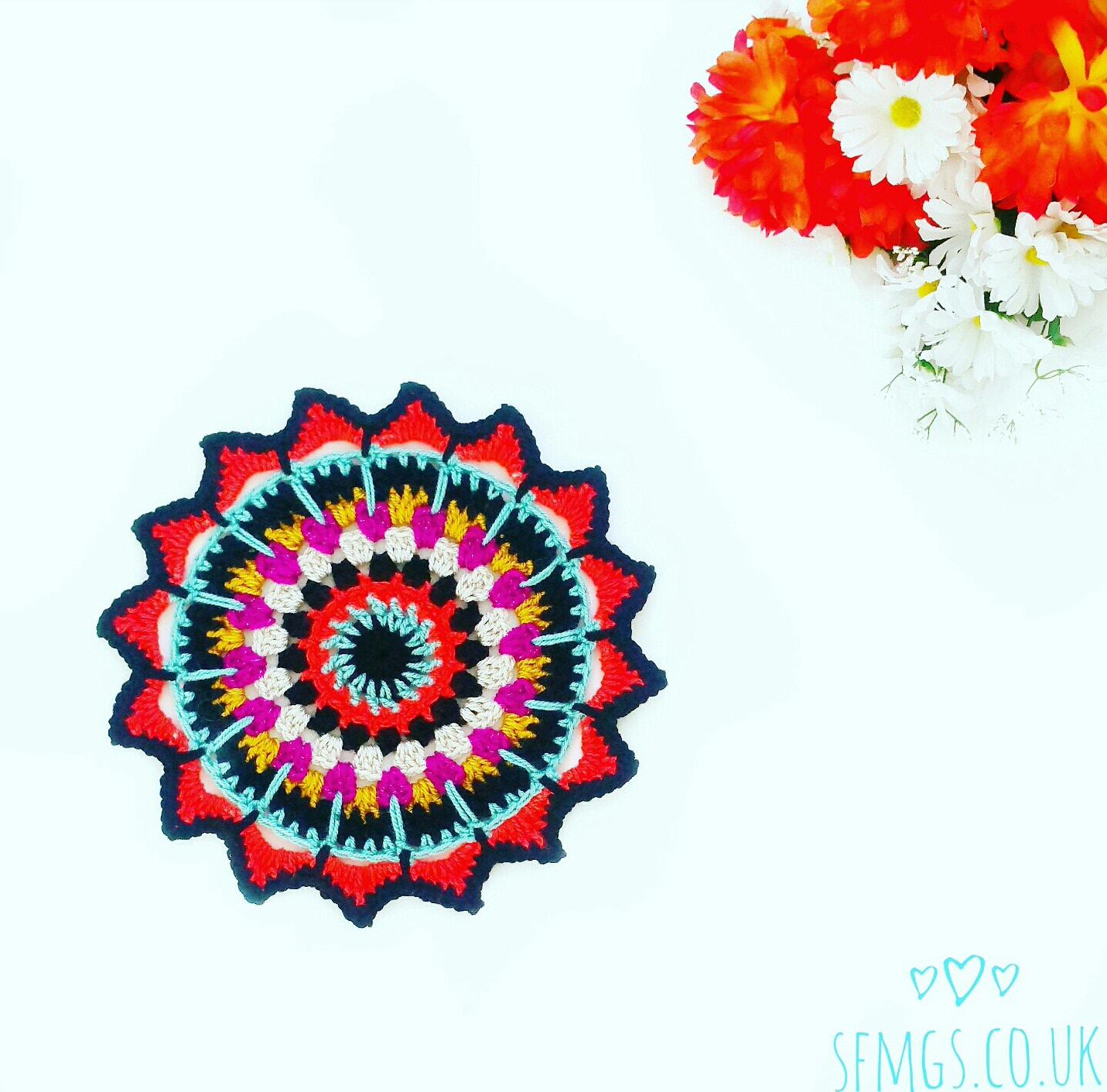 free crochet mandala pattern doily boho gypsy hippie