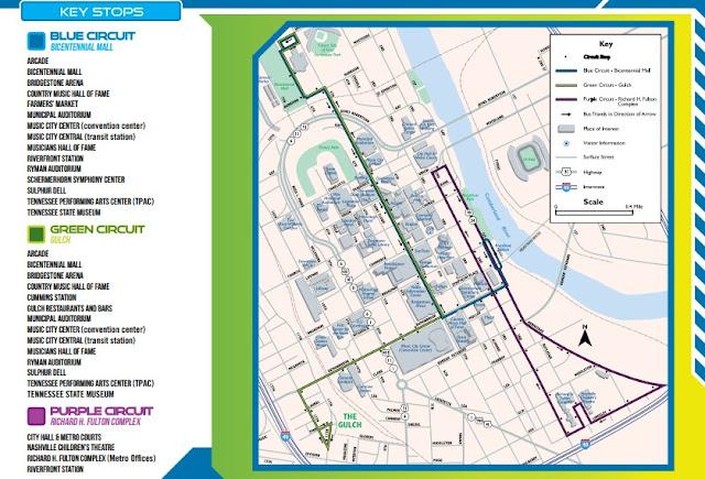 Mapa do ônibus gratuito Music City Circuit de Nashville