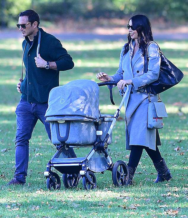 Frank and Christine Lampard pictured out with newborn daughter Patricia during family trip to the park
