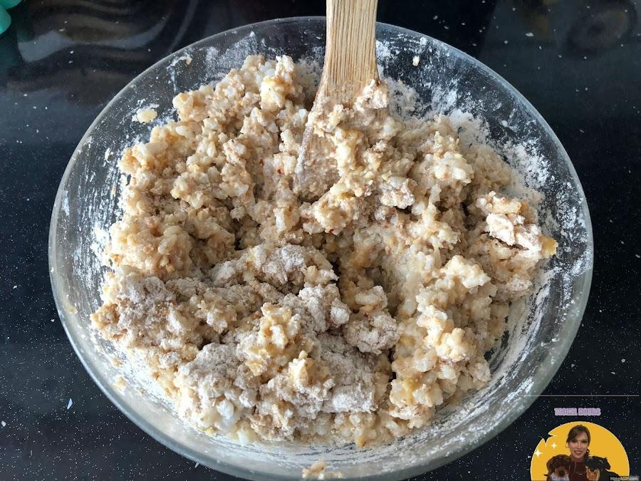 Arroz con harina, almendras y plátano