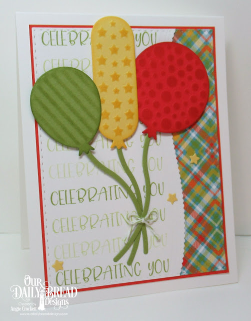 ODBD Celebrating You, ODBD Custom Birthday Balloons Dies, ODBD Custom Sparkling Stars Dies, ODBD Custom Leafy Edged Borders Dies, ODBD Custom Double Stitched Rectangles Dies, ODBD Birthday Brights Paper Collection, Card Designer Angie Crockett