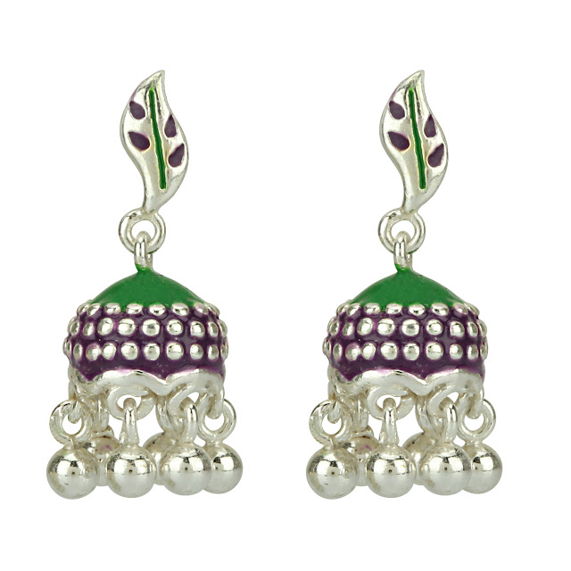 AhilyaJewels.com - PURPLE AND GREEN TINY JHUMKI