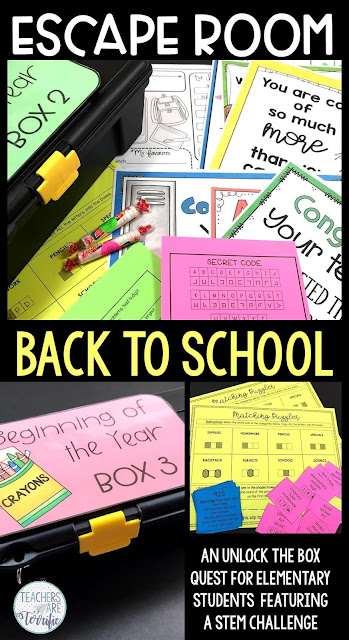 Here's an Escape Room experience for your elementary students. An Escape room is a puzzle game in which students solve riddles and puzzles and find clues to finish tasks. In this Quest, students solve puzzles to open locked boxes. This challenge was designed for third, fourth, and fifth graders. This Escape Room is all about starting back to school and kids will really love working with their team to solve these puzzles and open the locked boxes! #STEM #Escaperoom #backtoschool