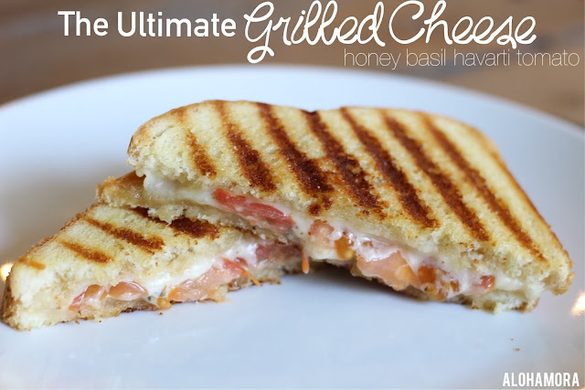 The Ultimate Grilled Cheese Sandwich kids enjoy buy adults absolutely love.  This sandwich has the best flavors.  So flavorful with honey, basil, tomatoes, and havarti cheese.  Delicious. Alohamora Open a Book http://alohamoraopenabook.blogspot.com/ simple, fast to make, easy to make, amazing, comfort food, lunch, dinner, quick, fun, warm