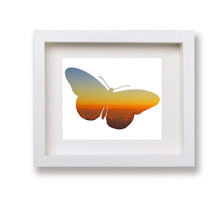 Butterfly silhouette wall art by Kim W. Nolan