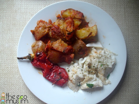 spain spanish recipe potatoes fish roast halal food