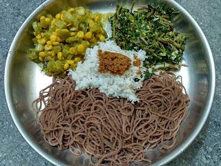 Maappillai Samba string hopper, Amaranth greens poriyal, Snake gourd channa dhal kootu