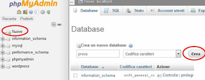Come creare un database con phpmyadmin