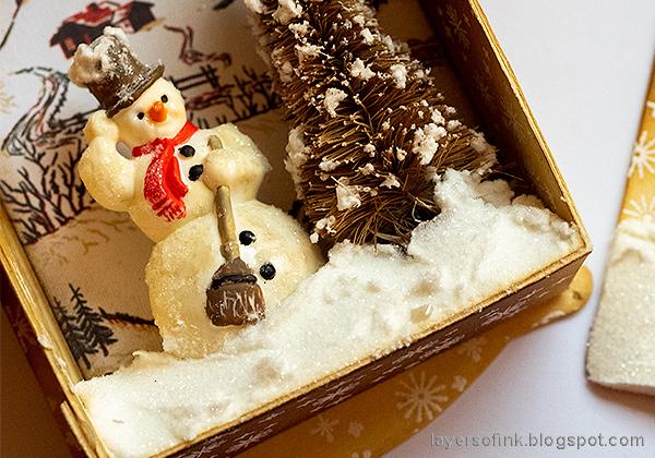 Layers of ink - Winter Wonderland Shadow Box Tutorial by Anna-Karin Evaldsson. Creating the winter wonderland.
