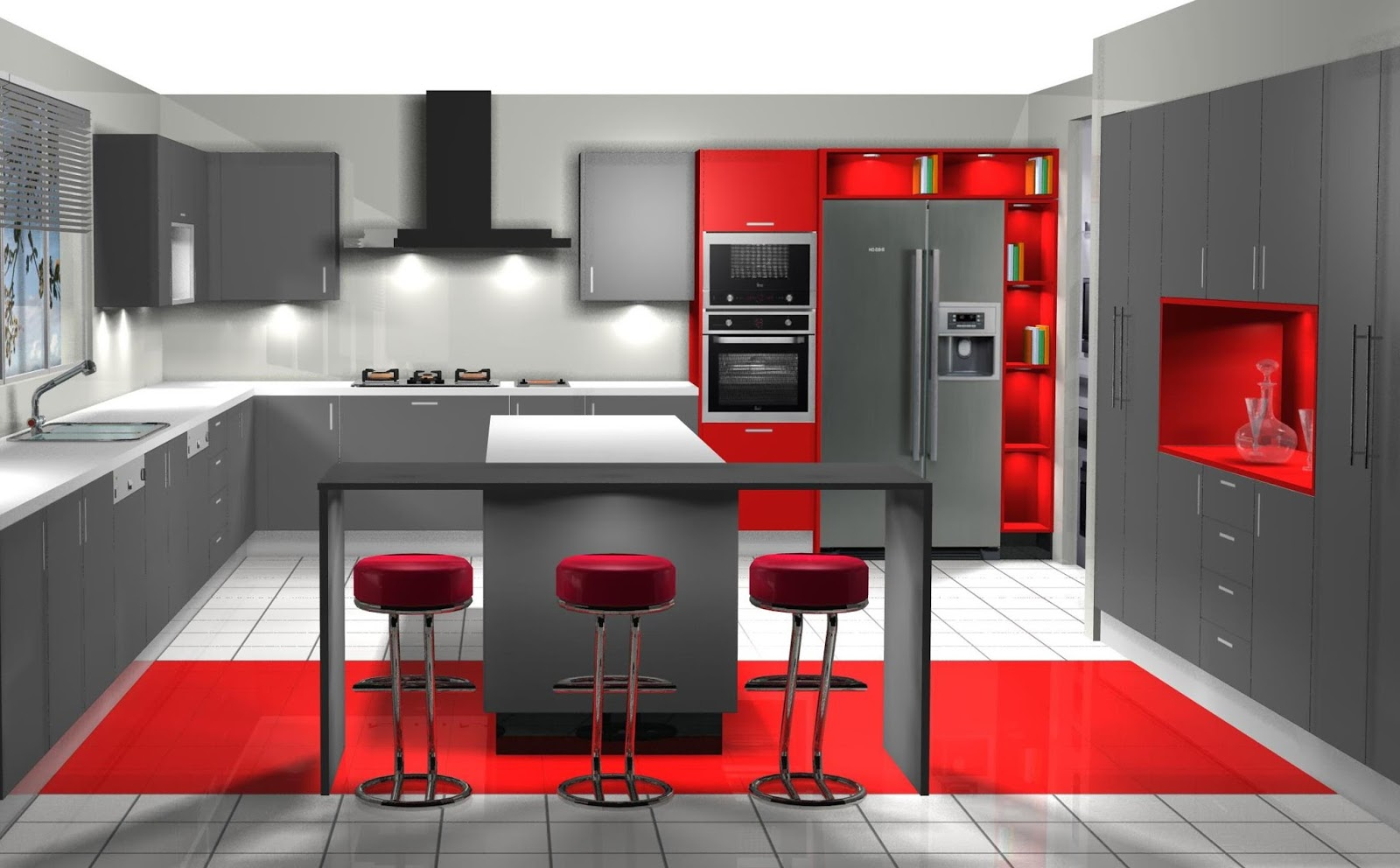 Diseno Muebles De Cocina Diseno De Cocina Laminado En Grafito - Diseos-de-muebles-de-cocina